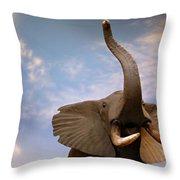 Talking Elephant Throw Pillow by Marilyn Hunt