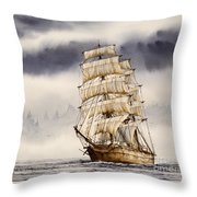 Tall Ship Adventure Throw Pillow by James Williamson