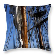 Tall Ship Rigging Lady Washington Throw Pillow by Garry Gay