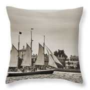 Tall Ship Schooner Pride Off The Historic Charleston Battery Throw Pillow by Dustin K Ryan
