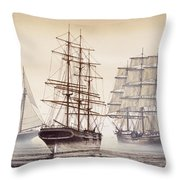 Tall Ships Throw Pillow by James Williamson