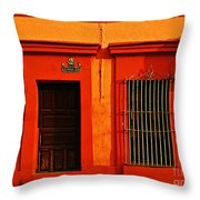 Tangerine Casa by Michael Fitzpatrick Throw Pillow by Mexicolors Art Photography