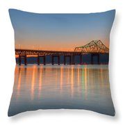 Tappan Zee Bridge After Sunset II Throw Pillow by Clarence Holmes