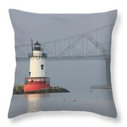 Tarrytown Lighthouse and Tappan Zee Bridge I Throw Pillow by Clarence Holmes
