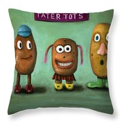 Tater Tots Throw Pillow by Leah Saulnier The Painting Maniac