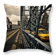 Taxi Crossing Smithfield Street Bridge Pittsburgh Pennsylvania Throw Pillow by Amy Cicconi