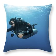 Technical Diver With Equipment Swimming Throw Pillow by Karen Doody