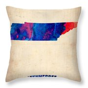 Tennessee Watercolor Map Throw Pillow by Naxart Studio