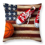 Tennis shoes and basketball on flag Throw Pillow by Garry Gay