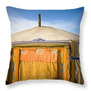 Tent In The Desert Ulaanbaatar, Mongolia Throw Pillow by David DuChemin