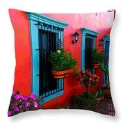 Terrace Windows At Casa De Leyendas By Darian Day Throw Pillow by Mexicolors Art Photography