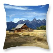 Teton Barn 3 Throw Pillow by Marty Koch