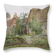 Thatched Cottages And Cottage Gardens Throw Pillow by John Fulleylove