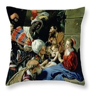 The Adoration Of The Kings Throw Pillow by Fray Juan Batista Maino