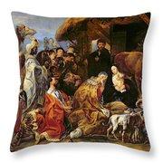 The Adoration Of The Magi Throw Pillow by Jacob Jordaens