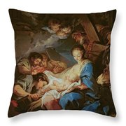 The Adoration Of The Shepherds Throw Pillow by Charle van Loo
