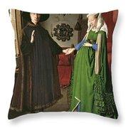 The Arnolfini Marriage Throw Pillow by Jan van Eyck
