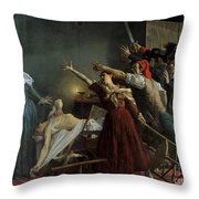 The Assassination Of Marat Throw Pillow by Jean Joseph Weerts