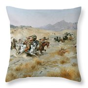 The Attack Throw Pillow by Charles Marion Russell