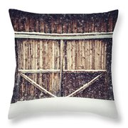 The Barn In Winter Throw Pillow by Lisa Russo