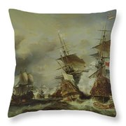 The Battle Of Texel Throw Pillow by Louis Eugene Gabriel Isabey