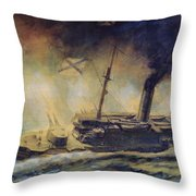 The Battle Of The Gulf Of Riga Throw Pillow by Mikhail Mikhailovich Semyonov