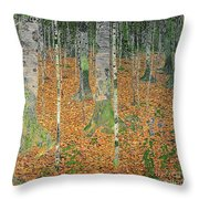 The Birch Wood Throw Pillow by Gustav Klimt