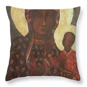 The Black Madonna Of Jasna Gora Throw Pillow by Russian School