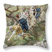 The Blind Leading The Blind Throw Pillow by Tissot