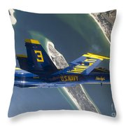 The Blue Angels Perform A Looping Throw Pillow by Stocktrek Images