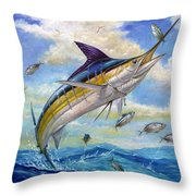 The Blue Marlin Leaping To Eat Throw Pillow by Terry  Fox