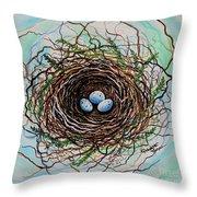 The Botanical Bird Nest Throw Pillow by Elizabeth Robinette Tyndall