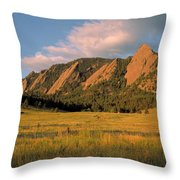 The Boulder Flatirons Throw Pillow by Jerry McElroy