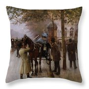 The Boulevards Throw Pillow by Jean Beraud