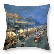 The Bowery At Night Throw Pillow by William Sonntag