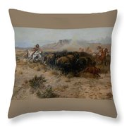The Buffalo Hunt Throw Pillow by Charles Russell