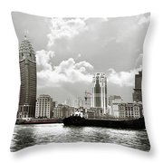 The Bund - Old Shanghai China - A Museum Of International Architecture Throw Pillow by Christine Till