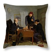 The Card Players Throw Pillow by  Richard Caton Woodville