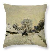 The Cart Throw Pillow by Claude Monet
