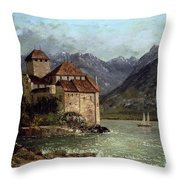The Chateau de Chillon Throw Pillow by Gustave Courbet