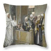 The Chief Priests Ask Jesus By What Right Does He Act In This Way Throw Pillow by James Jacques Joseph Tissot