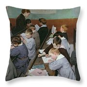 The Children's Class Throw Pillow by Henri Jules Jean Geoffroy