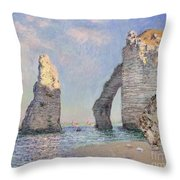The Cliffs at Etretat Throw Pillow by Claude Monet