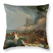 The Course of Empire - Destruction Throw Pillow by Thomas Cole