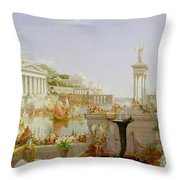 The Course Of Empire - The Consummation Of The Empire Throw Pillow by Thomas Cole