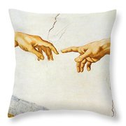 The Creation Of Adam Throw Pillow by Michelangelo Buonarroti