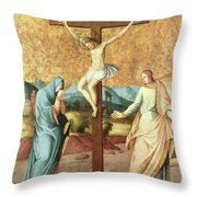 The Crucifixion with the Virgin and St John the Evangelist Throw Pillow by French School