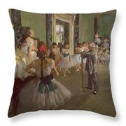 The Dancing Class Throw Pillow by Edgar Degas