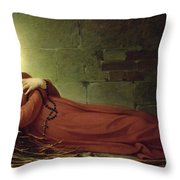 The Death of Germaine Cousin the Virgin of Pibrac Throw Pillow by Alexandre Grellet