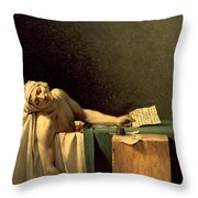 The Death Of Marat Throw Pillow by Jacques Louis David